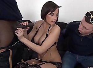 Interracial fuck for horny wife while cuckold..