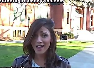 Vanessa Sixxx sucks a black cock on campus