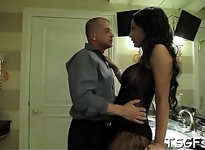 Crazy ladyboy gives a throat job with an increment of then gets booty pounded