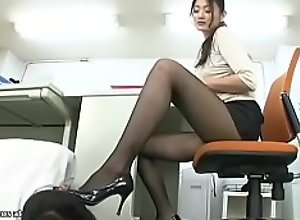 Japanese office lady caughts coworker looking at..