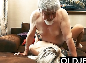 Tattooed pro fucked by elderly man she swallows..