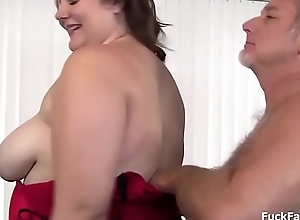 BBW old bag gets a cumshot over say no to frowardness together with big tits