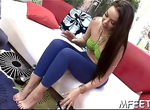 Lucky ally is property enchanted with respect to a hot footjob intact by a blonde