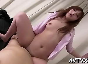 Fellow is ID and tasting japanese babe'_s stiffish cum-hole
