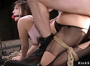 Sub gets anal breeding in torn pantyhose