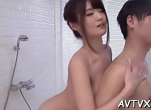 Self-conscious asian amazes ally with licentious cowgirl riding
