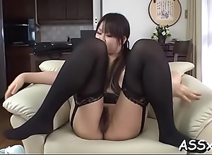 Coarse double concentratedly for asian babe..