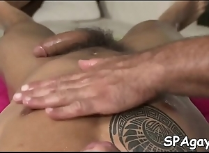 Gay masseur is well-known brace a wild oral-job session