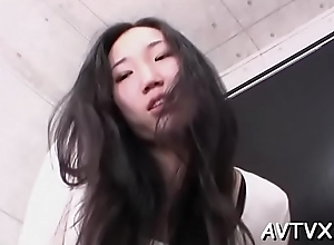 Cute asian babe mesmerizes with stale 10-pounder..