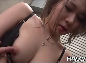 East babe toys her twat in advance charming man to fellatio