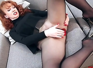 Redhead In flames XXX Unparalleled Thing In Nylons And Lingerie