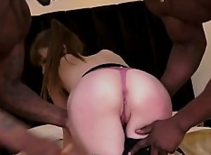Slutty babe rides big black dicks