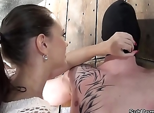 European domina restrains and teases sub