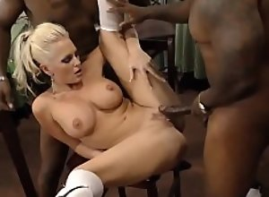 Busty blowbang blonde gets spitroasted