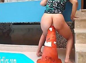 Latin Whore Fucks Massive Road Cone in Her Ass