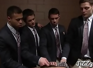 Youthful twink blows and bonks with a group of..