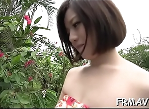 Asian babe receives yawning chasm spanking for her bushy grab