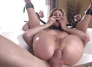 Blonde officer gagged plus anal fucked