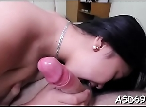 Professional babe makes the horny boy starve for her cunt