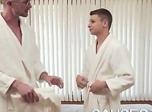 GAYCEST - Hung jockstrap dad breeds his son bareback after hot massage