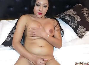 Chunky Ladyboy Cake Strokes Say no to Dick