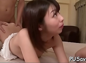 Guy lets oriental rides his cock and pleasures..