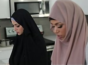 Talk about taboo! Muslim ebony teen Milu Blaze in hijab fucks her own stepbrother! When Milu's mom enters the room she pretends to be praying! Oh God!