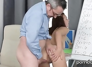 Fervent schoolgirl is tempted plus penetrated by..