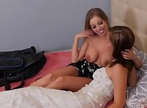 Teen bride and lesbian milf eat out pussies