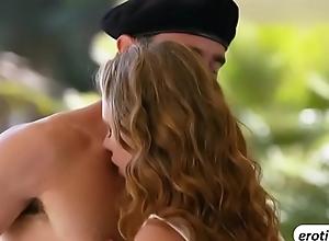 Naughty hot babe Anya Olsen swallows a beamy..