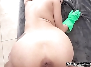 Curvy Maid Michelle Martinez Bends Over Added to..