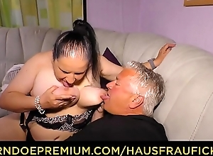 HAUSFRAU FICKEN - Tattooed German housewife gets cum beyond tits everywhere smutty amateur think the world of