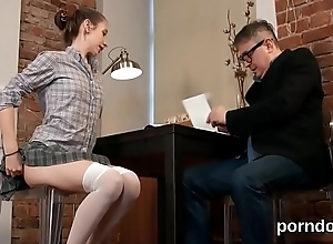 Meticulous schoolgirl is tempted with an increment of pounded by doyen docent