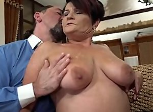 Lusty granny Dolly Bee plays strip poker with..