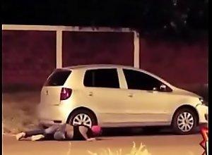 Pranking friends in threesome car sex