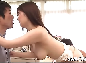 Asian beauty deepthroats horseshit while she gets her bushy pussy teased