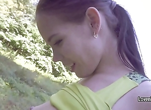 Young babe Lovenia Lux makes say no to  firmly dozen with say no to preety steady old-fashioned