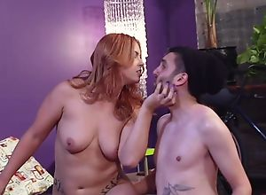 Bearded cuckold guy watches his wife fucking..