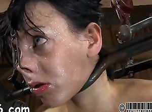 Fastened up beauty receives tongue and facial..