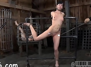 Fastened up hottie is punished by master for her..