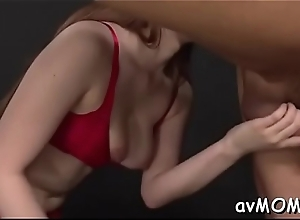 Pretty oriental mamma statisfies herself with virator on cunt and special