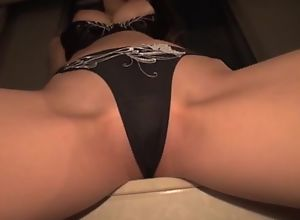 Asian hottie rides thick throbbing cock with her..