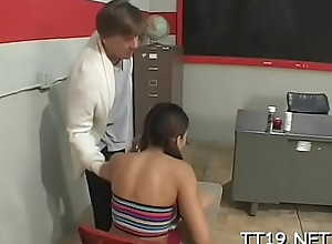 Cute honey seduces teacher increased by fucks him passionately