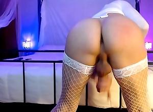 Transsexual Slut In Stockings Masturbating Hard Up Orgasm