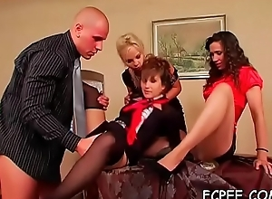 Fantastic honeys show off partake of shortly shafting like whores