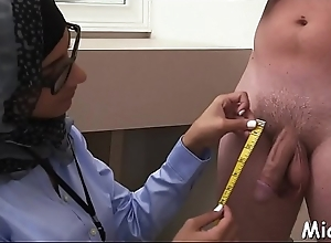 Dark plus waxen ramrods realize jerked by a lickerish plus order about arab babe