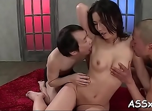 Bounded oriental receives salacious anal and..