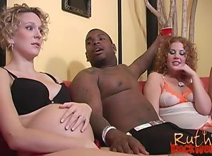 Nasty slut shares massive black cock with her..