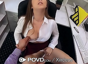 POVD Busty secretary Lena Paul fucks for plug