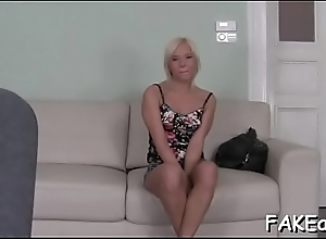 Horny darling sucks on dudes giant male cock hungrily